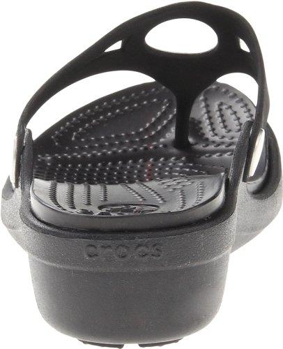Crocs Womens Sanrah Flip Zeppa Nero / Nero