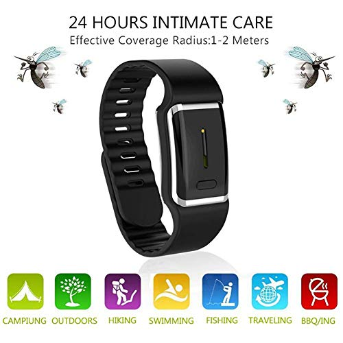 Goglor Ultrasonic Mosquito Repellent Leather Bracelets, Reusable Electronic Mosquito Repellent Wristband Band with USB Cable, 2019 Best Travel/Camping Accessories for Kids Children and Adult(Black)