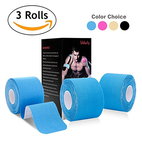 Kinesiology Tape Precut (3 Rolls pack), Udaily Elastic Therapeutic Sports Tape For Knee Shoulder and Elbow, Breathable, Water Resistant, Latex free, 2' x 16.5 feet Per Roll, 20 Precut 10 Inch Strips