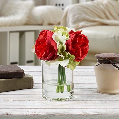 Pure Garden 50-136-RED Silk Floral Arrangement, Red - Acrylic Flowers