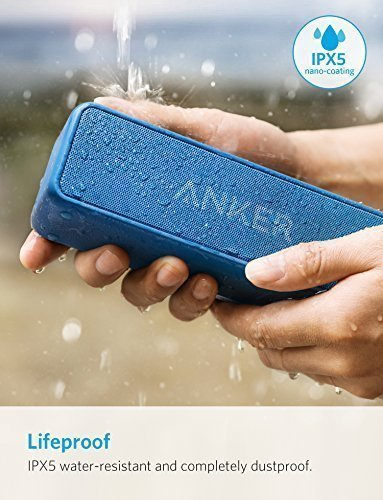 Anker SoundCore 2 Portable Bluetooth Speaker with Better Bass, 24-Hour Playtime, 66ft Bluetooth Range, IPX5 Water Resistance & Built-in Mic — Dual-Driver Wireless Speaker (Blue)