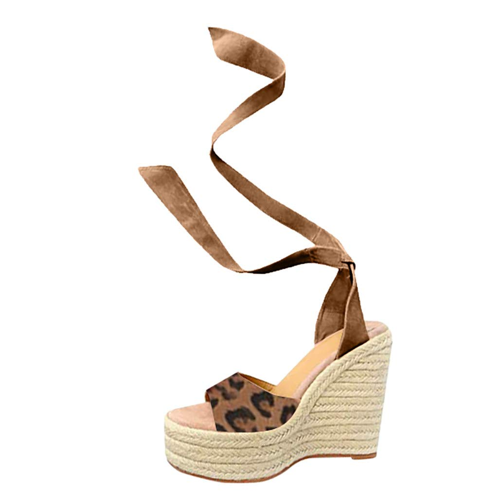 Womens Summer Leopard Wedges Sandals Ladies Outdoor Open Toe Thick Bottom Lace-Up Beach Shoes Roman Platform Sandals (Khaki, US:7)