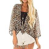 Cardigan Women Summer,Women Leopard Print Half Sleeve Cardigan Blouse Open Front Jacket Casual Tops,Women's Coats, Jackets & Vests,Brown,s