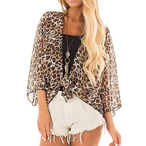 Womens Trendy Cardigan Leopard Print Half Sleeve Open Front Jacket Csual ()