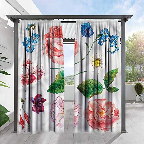 Marilds Floral Outdoor Patio Curtains Bouquet Set with Rose Energy Efficient, Darkening 84
