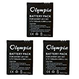 3 Pack of GoPro Hero3 Silver Edition Battery - Replacement Battery for GoPro Hero3 Silver Edition (1300mAh, 3.7V, Li-Ion)