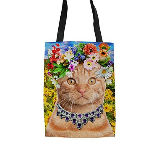 Print Friendly Toile Sacs Réutilisables Mignons B Femmes En Sac Fille Sacs Coton Cat Eco Dame LANDONA Animal 3D Casual v0q6w5wp