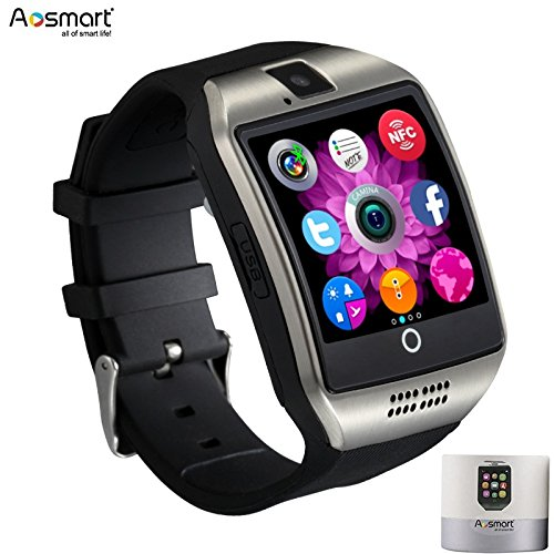Cell Phone Camera Watch (Smart Watch with Camera, Aosmart Q18 Bluetooth Smartwatch with Sim Card Slot Fitness Activity Tracker Sport Watch for Android Smartphones (Silver))