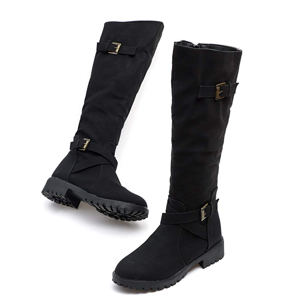 47378f0cb60 Cenglings Women mid-Calf Boots Winter, Womens Knee High Calf Biker Boots  Ladies Zip Punk Military Combat Army Boots