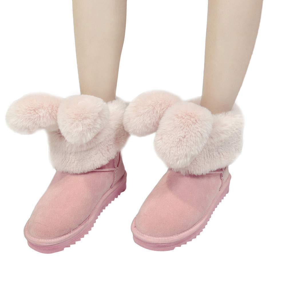 ZHRUI Stiefel Damen Schuhe Stiefeletten Frauen Frauen Frauen Stilvolle Faltbare Hasenohren Freizeitschuhe Warme Schuhe Plüsch Knöchel Aufladung Winterstiefel (Farbe   Rosa, Größe   41 EU)  9fa371