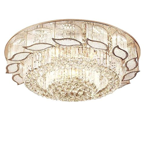 (Modern Crystal LED Ceiling Light Fixture Round Leaf Chandelier with Remote Control for Living Room/Dining Room (Diameter 60cm) )