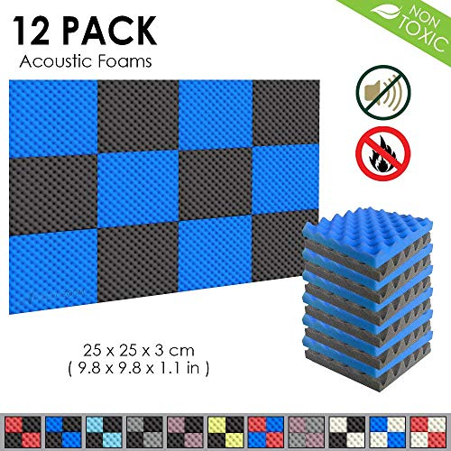 Arrowzoom New 12 Pack of Blue & Black (9.8 in X 9.8 in X 1.1 in) Convoluted Foam Soundproofing Insulation Egg Crate Acoustic Wall Padding Studio Foam Tiles (BLUE&BLACK) ()