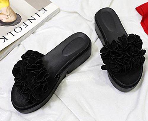 Easemax Womens Trendy Flowers Wedge Mule Sandals Black pgNny