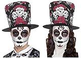 DAY OF DEAD SUGAR SKULL ROSE BLACK RED TOP HAT + GLITTER EYES TATTOO/MAKE UP KIT