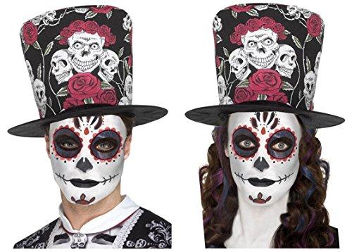DAY OF DEAD SUGAR SKULL ROSE BLACK RED TOP HAT + GLITTER EYES TATTOO/MAKE UP KIT -