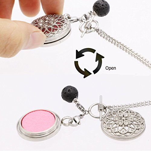 Aromatherapy Essential Oil Diffuser Necklace with Lava Ball Pendant Jewelry Gift for Her-Silver by NewStar (Image #3)