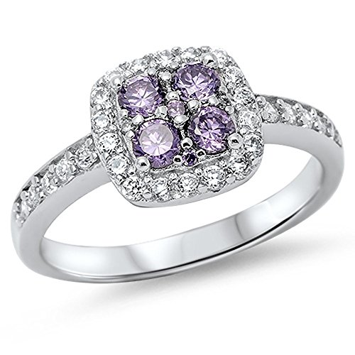 Simulated Amethyst Halo Cluster Promise Ring New .925 Sterling Silver Band Size 10 (RNG14602-10)