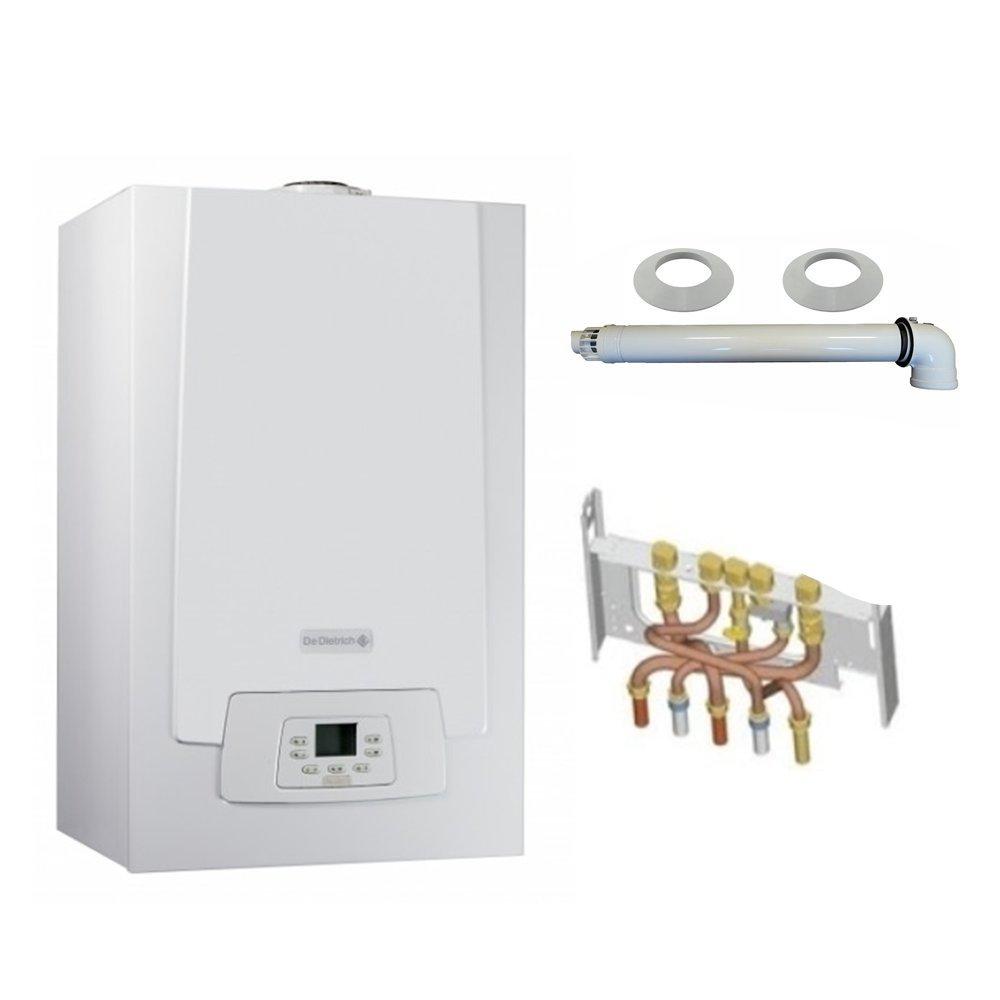 Chaudière Gaz Condensation MPX MI Compact De Dietrich 28 kW Complète (DOSSERET + DOUILLES + VENTOUSE)