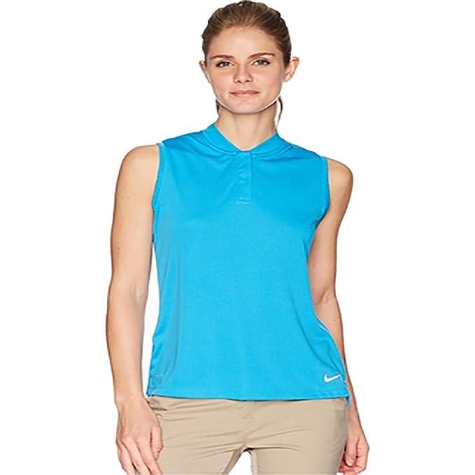 79638f72 Nike Dri Fit Sleeveless Blade Collar Golf Polo 2018 Women Equator Blue/Flat  Silver X