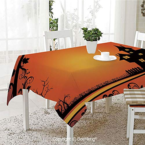 BeeMeng Large Family Picnic Tablecloth,Easy to Carry Outdoors,Halloween,Framework with Curvy Tree Branches Swirls Leaves Gothic Castle Festival Decorative,Orange Yellow Black,59 x 104 inches