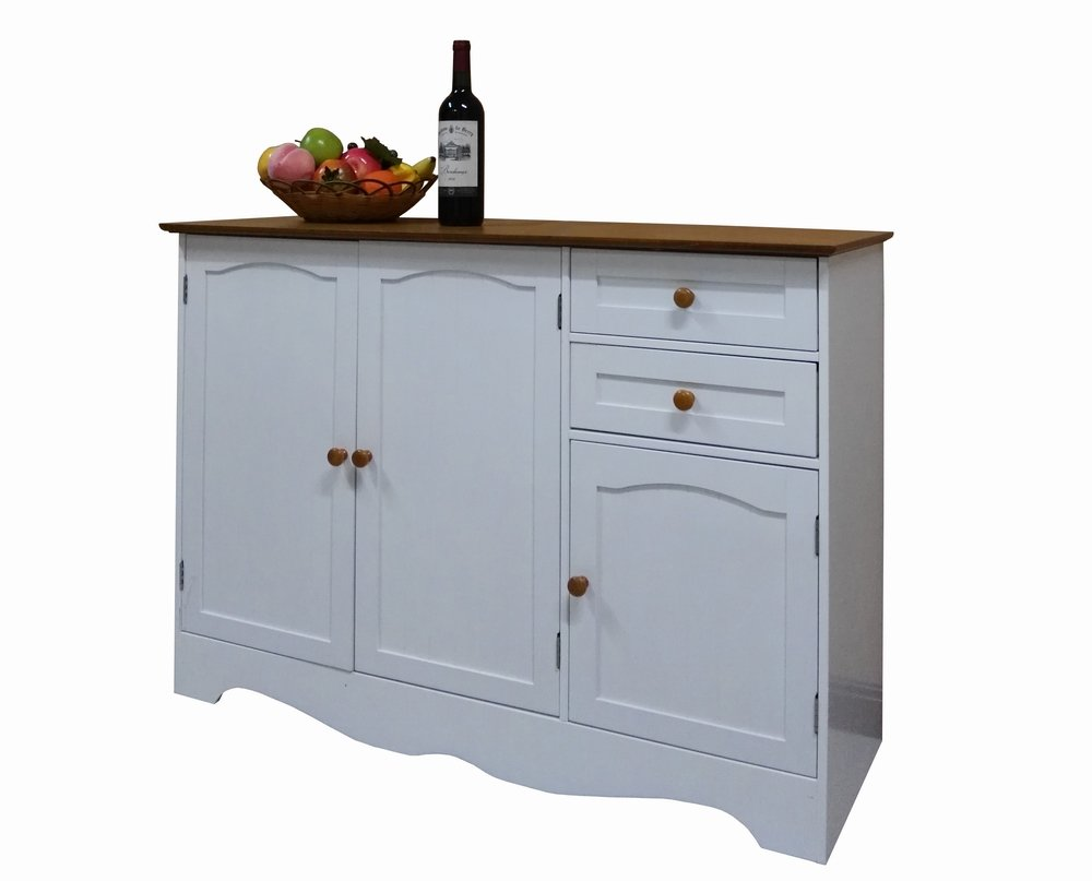 Homecharm-Intl 43.3x15.8x30.7-Inch Storage Cabinet,White(HC-001) - White body&wood veneer top.Made of durable painted MDF and wood composite Buffet Table comes with three doors, two drawers, and inside storage shelf Overall assembled size is 43.3L * 15.8D * 30.7H inches - sideboards-buffets, kitchen-dining-room-furniture, kitchen-dining-room - 51pNsLfv6vL -