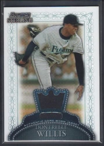 (DONTRELLE WILLIS 2005 BOWMAN STERLING MARLINS RELIC GAME USED JERSEY SP $15 )