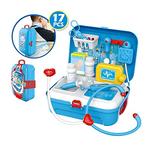 do1n Unique Back pack 17Pcs Doctor Nurse Medical Case Role Play Set Gift Toy Educational Kit Set from do1n