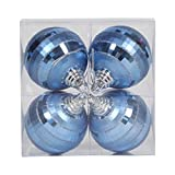 Vickerman 376744 - 4'' Lake Blue Shiny Matte Glitter Mirror Ball Christmas Tree Ornament (4 pack) (M151452)