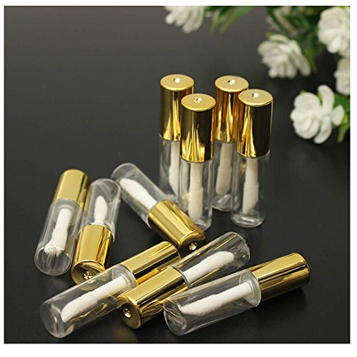 GOOTRADES 20 Pack 1.2ml Gold Cap Reusable Empty Lip Gloss Balm Tube Bottle DIY Container Vials