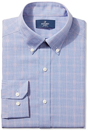 buttoned-down-mens-fitted-button-collar-non-iron-dress-shirt-blue-pink-glen-plaid-175-neck-32-sleeve