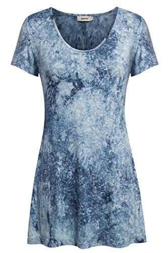 Tunic Tops for Leggings for Women,Bepei Short Sleeves Loose Fitting Knits Blue L
