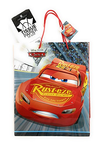 Disney Pixar Cars 3 Extra-Large Glossy Gift Bag with Tissue (Disney Cars Gift Bags)