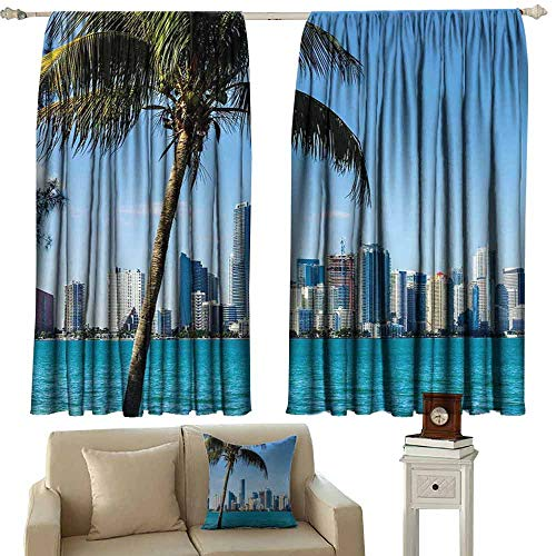 Biscayne Windshield - DUCKIL Windshield Curtain Coastal Miami Downtown with Biscayne Bay Buildings and Palm Tree Panoramic Art Noise Reducing Curtain W63 xL63 Sky Blue Aqua Green