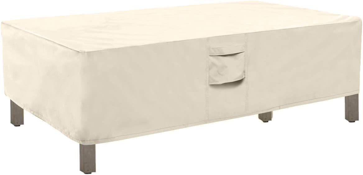 Honest Outfitters Rectangular Patio Coffee Table Cover,Water Resistant and Heavy Duty Outdoor Lawn Patio Furniture Covers(Beige,48''L x 28''W x 13''H)