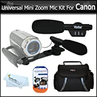 Universal Super Sound Mini Zoom Camcorder Directional Video Shotgun Microphone w/Mount + Deluxe Case + More For Canon VIXIA HF M30 HF M31 HF M300 FS300 HF R100 HF S20 HF M32 FS31 HF S21 ZR900 HF R10 HV20 XH A1S VIXIA HF100 ZR960 Digital Camcorder