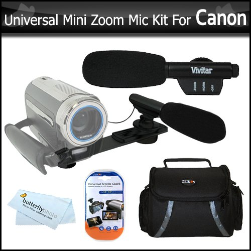 Universal Super Sound Mini Zoom Camcorder Directional Video Shotgun Microphone w/Mount + Deluxe Case + More For Canon VIXIA HF R20 HF R21 HF R200 HF21 HF G10 HF HF R32 HF R30 HF R300 Digital Camcorder Directional Stereo Microphone Dm100