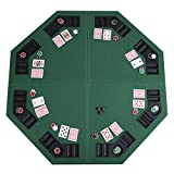 48'' Green Octagon 8 Player Four Fold Folding Poker Table Top & Carrying Case