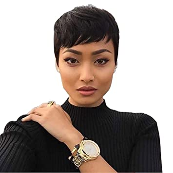 Amazon Com Short Black Pixie Cuts Hair Synthetic Short Wigs For