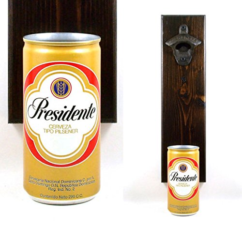 ttle Opener With A Vintage Presidente Cerveza Dominican Republic Beer Can Cap Catcher - Father's Day Or Groomsmen Gift (Cerveza Bottle Opener)