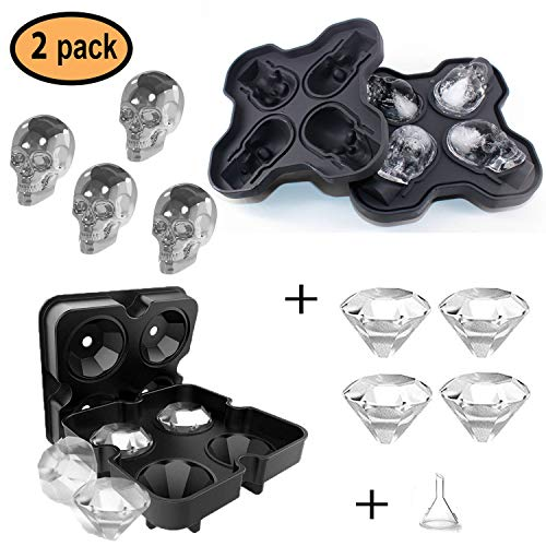 F.&.D 2 Sets Diamond Ice Tray 3D Skull Molds Maker for sale  Delivered anywhere in USA