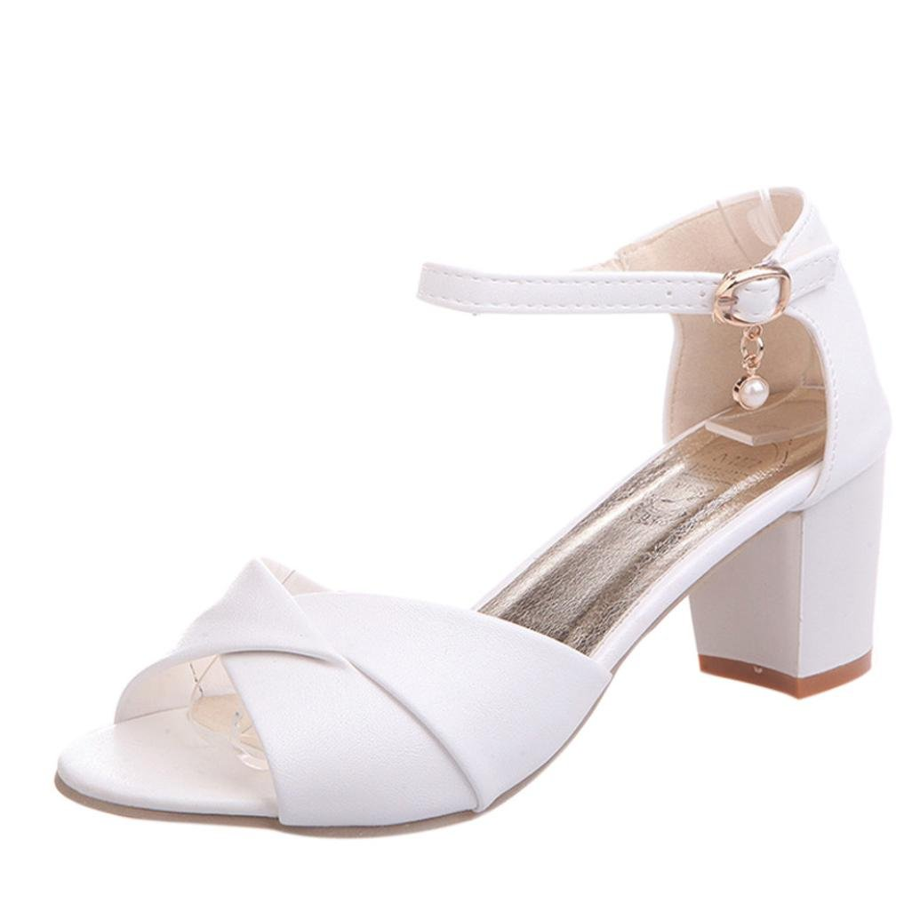 Beautyjourney Chaussures Femme Partie Sandales Talons, Sandales B01LZ7U66K Plage Talon Tongs Blanches,Femmes Cheville Talons Sandales Haut Talon Sandales Partie Open Toe Shoes Blanc cfe2faa - fast-weightloss-diet.space