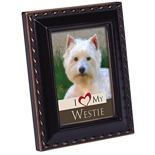Cottage Garden I Love My Westie 2x3 Photo Black with Gold Trim Frame Easel Magnet ()