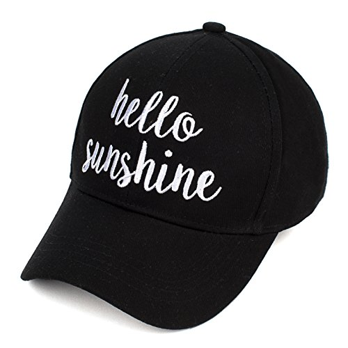 BYSUMMER C.C Womens Cotton Baseball Cap Bold Cursive Embroidered Phrase, Quote, Saying Adjust Cap (Hello Sunshine) by By Summer