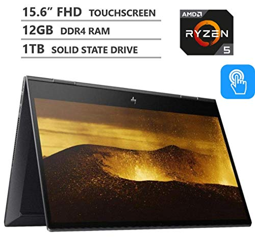2019 Newest HP Envy x360 2-in-1 15.6″ FHD IPS Micro-Edge Touchscreen Laptop, AMD Ryzen5 3500U Processor up to 3.7GHz, 12GB RAM, 1TB M.2 SSD, HDMI, Wireless-AC, Bluetooth, Windows 10, Nightfall Black