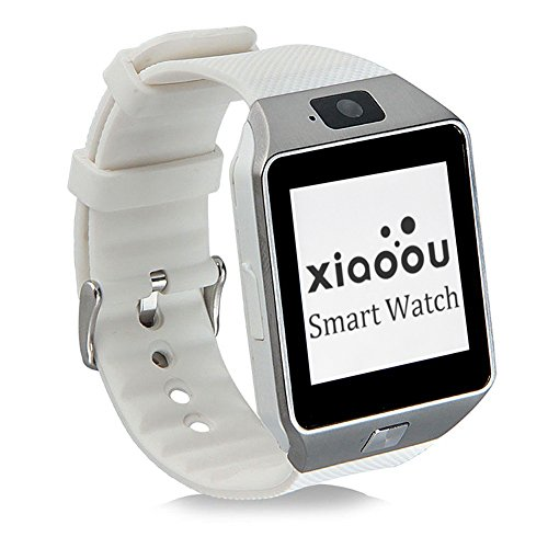 Bluetooth Smartwatch DZ09 With SIM Card Camera Support TF Card for Apple IOS Samsung Android Cell Phones (White hand+Silver dial)