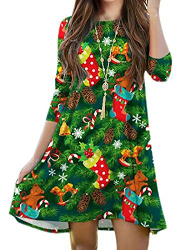 Christmas Sleeve Neck Dresses Scoop Casual Cruiize 3 4 Green Print Women xZtqnp