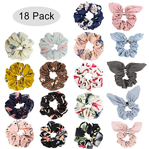 Jaciya 18 Pack Women's Hair Scrunchies Chiffon Flowers Elastic Hair Bands Scrunchy Hair Ties Ropes Scrunchie Hair Scrunchies Hair Chiffon Ponytail Holder, 18 Pieces