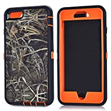 "MOONCASE iPhone 6S Plus Case, [Realtree Camo Series] 3 Layers Heavy Duty Defender Hybrid Soft TPU +PC Bumper Triple Shockproof Drop Resistance Protective Case Cover for Apple iPhone 6 Plus / 6S Plus 5.5"" -Orange Grass"