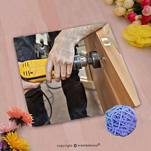 VROSELV Custom Cotton Microfiber Ultra Soft Hand Towel-door installation hands carpenter holding yellow power drill with wood hole saw drill bit Custom pattern of household products(20