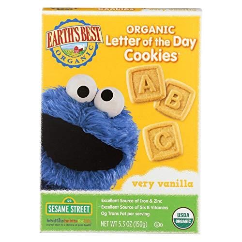 Earths Best Organic Sesame Street Very Vanilla Cookies, 5.3 Ounce -- 6 per case.